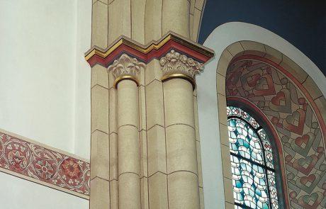Architekturfassungen in der Gemeinde St. Joseph in Gelsenkirchen-Schalke restauriert von der Restaurierungen Berchem GmbH